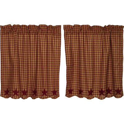 "Burgundy Star Scalloped Check Tier Set by VHC Brands - Lined - 36"" x 36"""