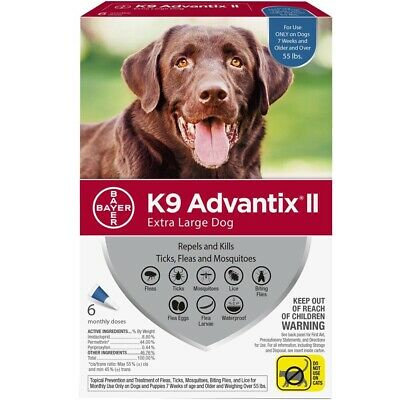 K9 ADVANTIX ii For Extra Large Dog over 55 Lbs, 6 Month, Flea & Tick, Authentic