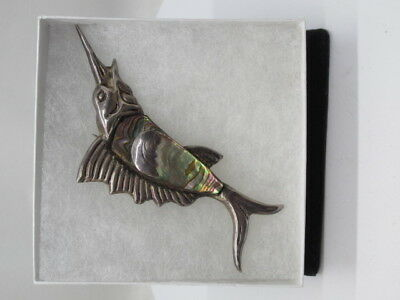 Brooch/Pin Sterling Silver Swordfish with Abalone Mexico Stamped, Faded Stamp