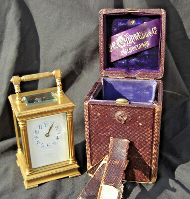 Antique 1890's Je Caldwell & Co Gilded Brass Carriage Clock In Leather Case