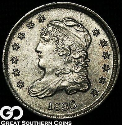 1836 Capped Bust Half Dime, Tough This Nice, BU++ Early Silver Type!