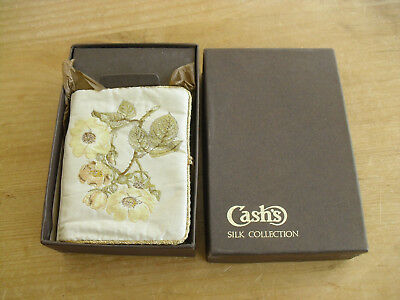 """Boxed Cash's Silk Floral Needle Case & Contents - 3 1/2""""(9cms) - Appears Unused"""
