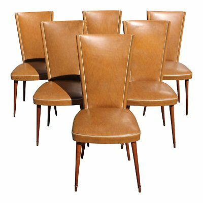 1940s Vintage French Art Deco Solid Mahogany Dining Chairs- Set of 6