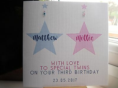 Handmade Personalised Twins Twin Birthday Card 1st 2nd 3rd 4th 5th 6th 7th 8th