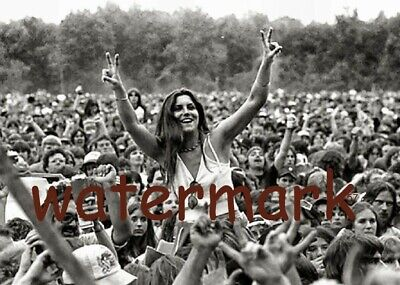 August 15. 1969 Woodstock Rocking Out In The Crowd Black & White Publicity Photo