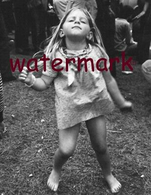 August 15Th 1969 Woodstock Little Girl Rocks Out Black And White Publicity Photo