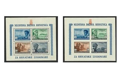 Croatia 1943 War Legion Set of 2 Stamp Miniature Sheets Perf & Imperf Mint MUH