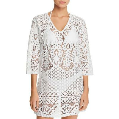 44cffb202c47c NWT J VALDI Crochet Swim Cover-Up V-Neck Tunic White Size M -  27.20 ...