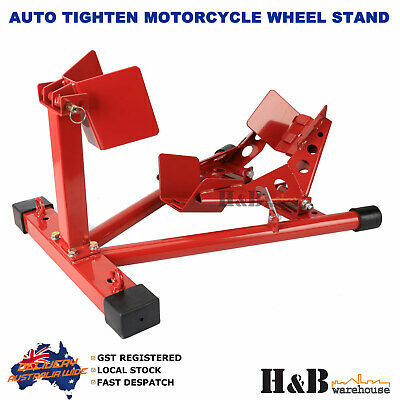 Heavy Duty Motorcycle Motor Motorbike Stand Front Wheel Chock Trailer Transport