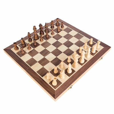 Large Chess Wooden Set Folding Chessboard Magnetic Pieces Wood Board AU