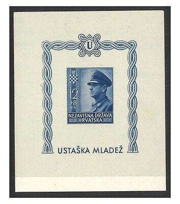 Croatia 1943 Ante Pavelich Semi-Postal Stamp Surtax Imperf Mini Sheet Mint MUH