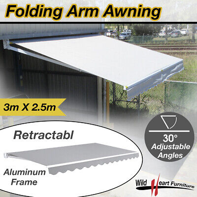 3x2.5M Folding Arm Awning Retractable Outdoor Sunshade Canopy Grey