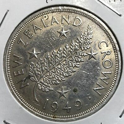 1949 New Zealand Silver  Crown High Grade Large Coin