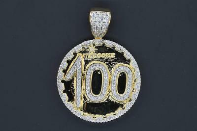 14K Yellow Gold Plated Hip Hop Iced out CZ 100 Emoji Circle Charm with Chain