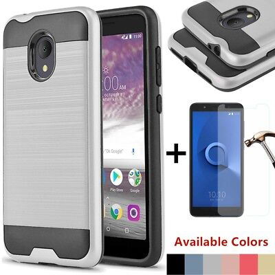 For Alcatel TCL LX/1X Evolve/Ideal XTRA Hybrid Brushed Slim Case+Tempered Glass