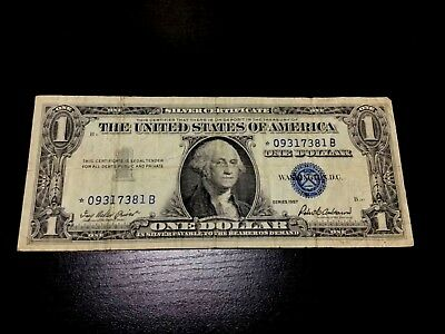 1957 Star $1 Silver Certificate One Dollar Bill Usa Paper Small Size Currency!