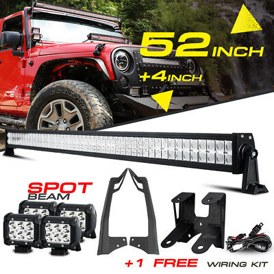 "52"" 700W +4"" 18W LED Work Light Bar Mount Bracket For Jeep Wrangler JK Offroad"