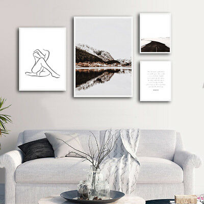 Mountain Landscape Canvas Poster Nordic Line Drawing Abstract Wall Art Print