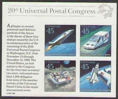 US. C126. 45c. Futuristic Mail Delivery. Souvenir Sheet of 4. Mint. NH. 1989