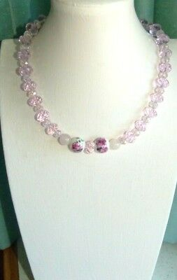 Jewellery Pretty Pink Glass Faceted Crystal Bead Necklace 622