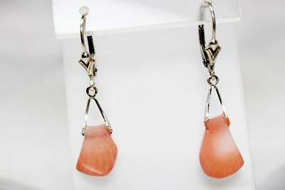 ~MGJ~ STERLING Pink Bamboo CORAL CUSTOM DESIGN CORAL Leverback EARRINGS