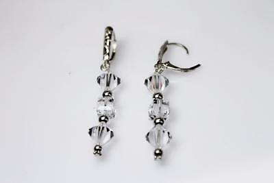 ~MGJ~ Sterling Silver Swarovski Clear Crystals, 4mm SS Beads & Bali Bead EARRING