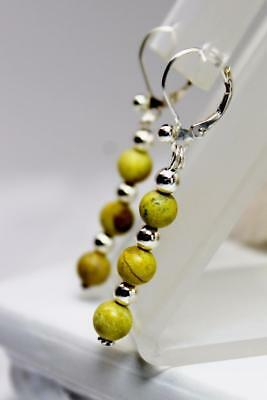~MGJ~ Sterling Yellow Turquoise Bead Dangle Leverback EARRINGS