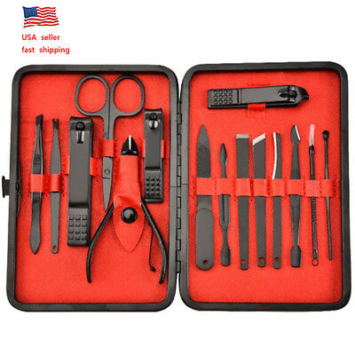 Manicure Pedicure 15pc Set Nail Clippers Callus Remover Kit Hand Foot Care USA