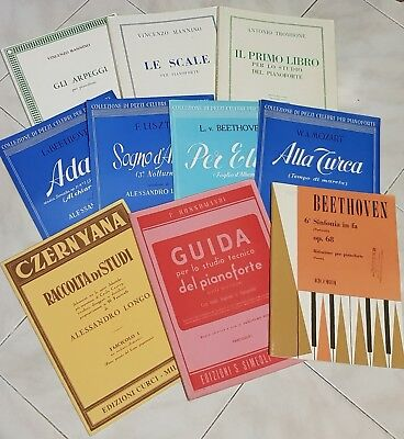 Stock fascicoli, spartiti, guide, manuali, su compositori e pianoforte + 4vinili