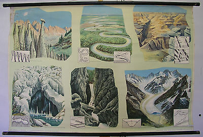Schulwandkarte Wall Map Earth Gorge Glacier Meander Canyon Cave Wind 118x79