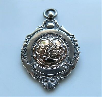 Vintage Sterling SILVER WATCH FOB MEDAL Chester HM 1925 Football 1st Div WINNERS