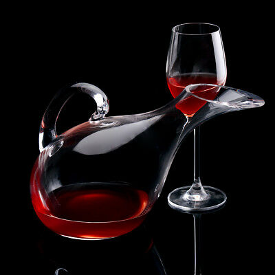 1200ml Swan Shape Lead-free Crystal Glass Wine Decanter Carafe Aerator Pourer