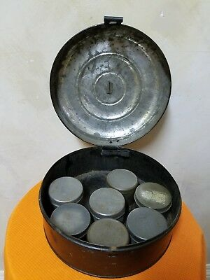 Antique Victorian Metal Spice Round Tin with Seven Tins, 5 of One Kind & 2 Other