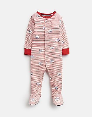 Joules Baby 203981 All Over Print Babygrow With Feet in RED DOG STRIPE