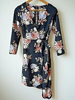 bb0c0381f40c27 New Women Ex Brand Black   Coral Rose Print Asymmetric Wrap Over Dress Size  ...