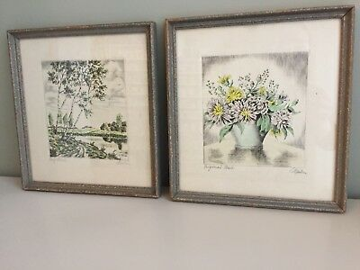 PAIR French Antique Block Printed Original Watercolour Paintings Signed 25cm p3