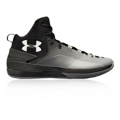 Under Armour Mens Rocket 3 Basketball Shoe Grey Sports Breathable Lightweight