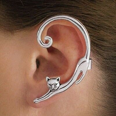 Fashion Cute Cat Clip Ear Cuff Stud Women's Punk Wrap Cartilage Earring Jewelry