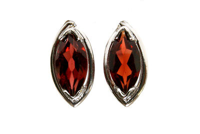 9ct White Gold marquise Garnet Stud earrings Gift Boxed Studs Made in UK