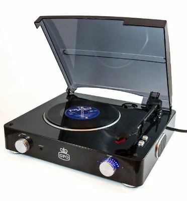 GPO STYLO 3-Speed Vinyl Turntable Record Player with Built In Speakers - Black