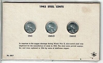 1943 P D S Steel Wheat Cent Penny Set . Choice BU. See the scans.