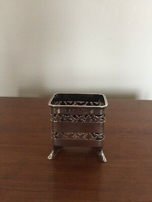 Silver Hallmarked Pierced Mustard Pot On 4 Feet (Missing Liner) 34G