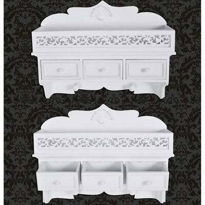 White Wall Mount Shelf With 3 Drawers Home Hat Clothes Storage Rack Bookcase MDF