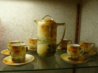 Hand Painted Nippon Rural Scene Demitasse Pitcher / Coffee Pot & Service for 6