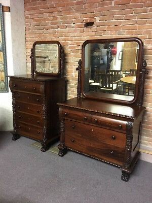 Antique American Mahogany Empire Dresser & Chest of Drawers w. Mirrors