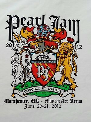 Pearl Jam Manchester Arena UK 2012 T-shirt Size Medium Unisex Top Like New