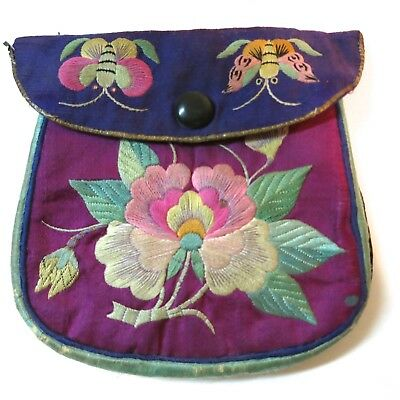 Antique Vintage Purse Chinese Embroidered on Silk Bugs Butterfly Figural Scenic