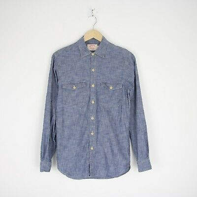 Vintage Mens Brooks Brothers X Slim Cotton Long Sleeve Chambray Shirt S 3554