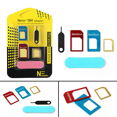 5 IN 1 Nano SIM Card to Micro Standard Adapter Converter Set For Samsung iPhone