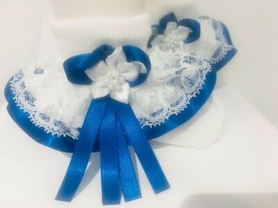 Handmade Royal blue trim frilly socks baby/girls wedding school various sizes